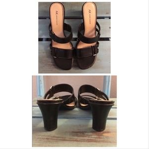 Anne Klein New Black Buckled Mule Sandals